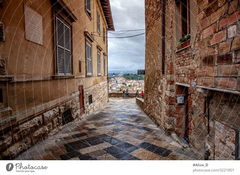 Volterra Toskana Italien Ferien & Urlaub & Reisen Architektur Europa Dorf Kleinstadt Stadt Stadtzentrum Altstadt Menschenleer Haus Mauer Wand Fassade Fenster