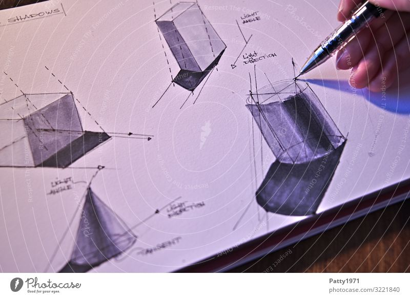 How to cast shadows over basic geometric forms Technik & Technologie Physik Schlagschatten Geometrie Schattenkonstruktion Hand Finger Kunst Künstler Maler