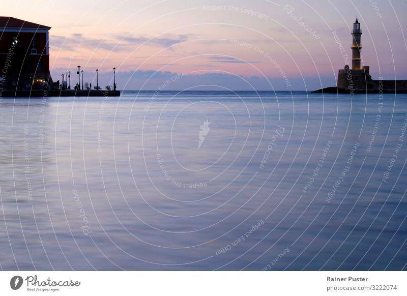 Abendliche Stimmung in Chania, Kreta harmonisch Meditation Küste Bucht Meer Mittelmeer Hafenstadt Turm Leuchtturm blau violett rosa rot schwarz Gelassenheit