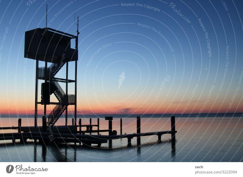Morgens am See Himmel Natur blau Wasser Ferne Berlin Horizont Schönes Wetter Romantik Turm Seeufer Schwimmbad maritim Nachthimmel Sprungbrett