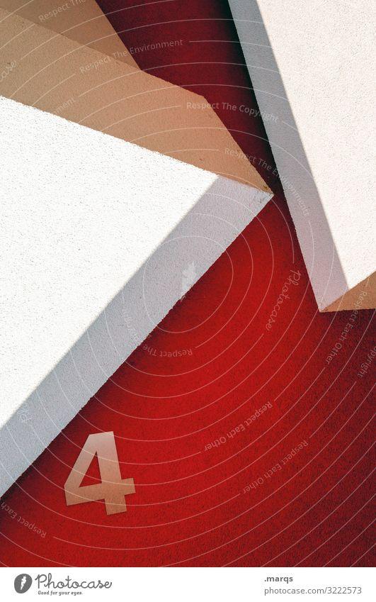 4 vier Ziffer rot weiß Wand eckig modern Architektur Fassade Hausnummer abstrakt Design außergewöhnlich Stil Grafik u. Illustration Geometrie minimalistisch
