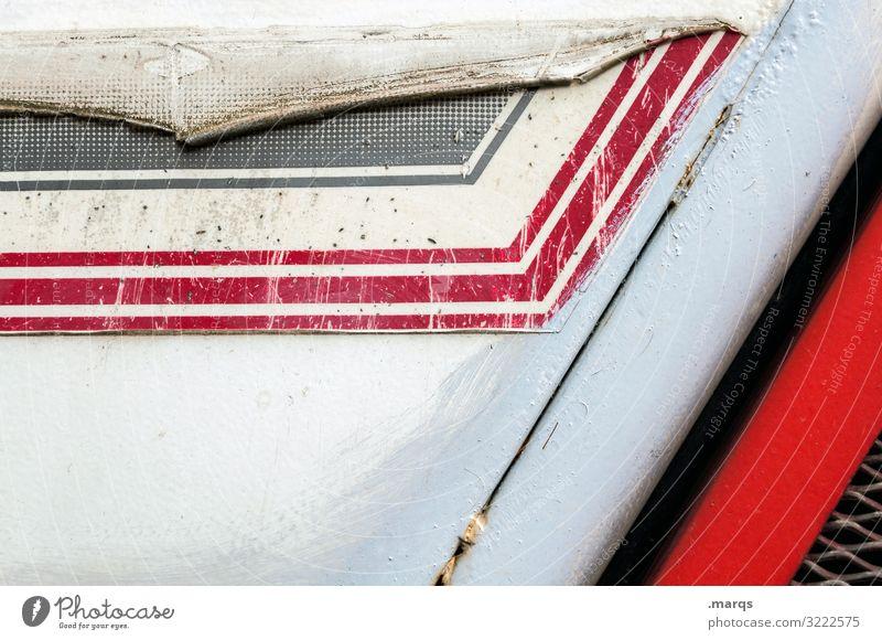 Abgenutztes Nutzfahrzeug Streifen rot weiß schwarz Kratzer Stil abgenutzt dreckig Metall Hintergrundbild Kunststoff Muster abstrakt Design Strukturen & Formen