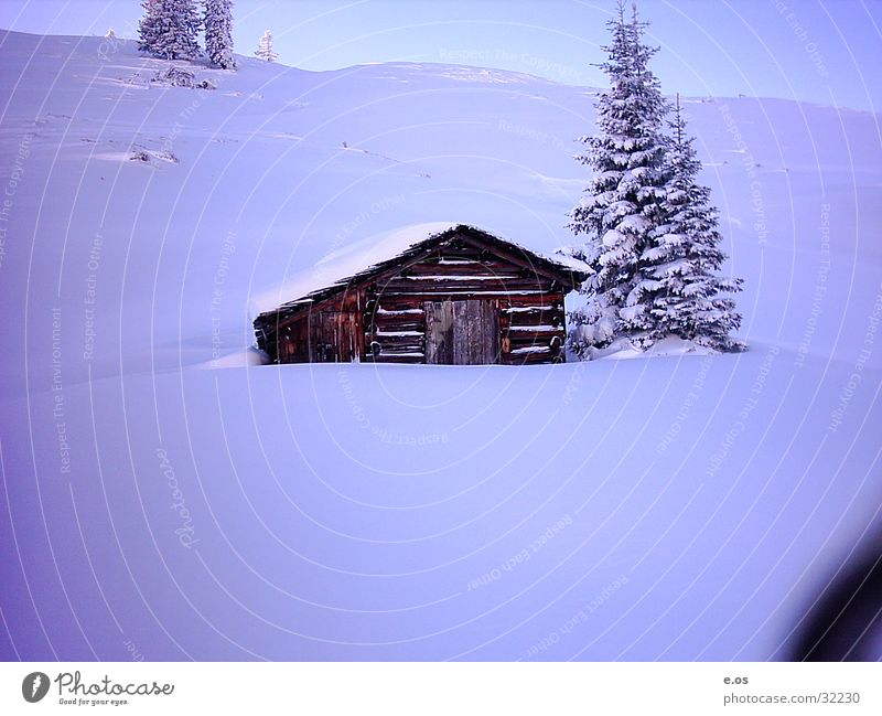 Haus in den Alpen Schnee Berge u. Gebirge Holz Hütte