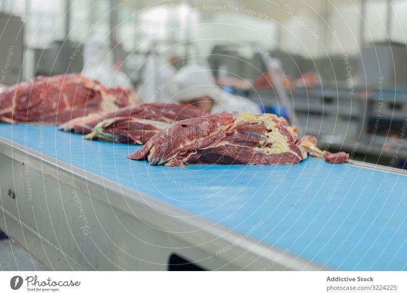 Gehackte Stücke von rohem Fleisch auf dem Tisch industriell Förderband Schlachthof geschnitten Lebensmittel ungekocht frisch Scheibe Vorbereitung Metzgerei