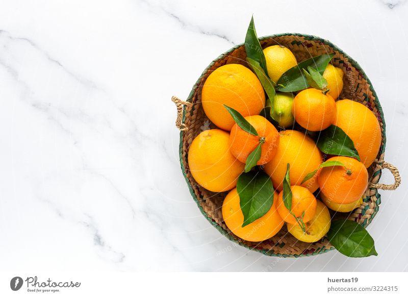 Orangen, Mandarinen und Zitronen von oben gesehen Lebensmittel Gemüse Frucht Dessert Ernährung Frühstück Vegetarische Ernährung Diät Lifestyle Gesunde Ernährung