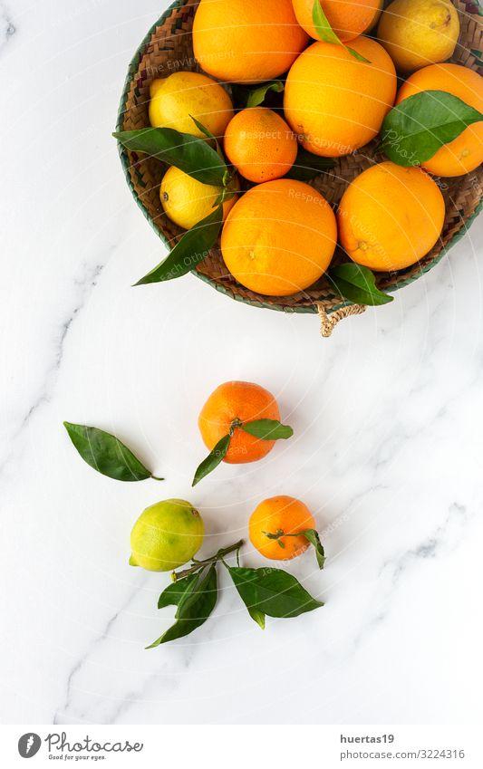 Orangen, Mandarinen und Zitronen von oben gesehen Lebensmittel Gemüse Frucht Dessert Frühstück Vegetarische Ernährung Diät Geschirr Lifestyle Stil