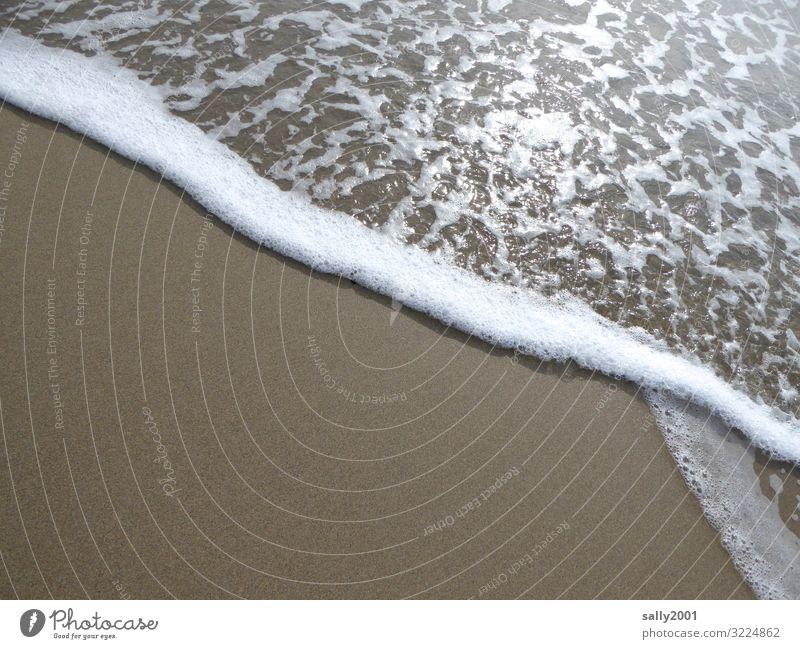 Sehnsucht nach Meer... Sand Strand Bewegung Flüssigkeit glänzend Erholung Wellen Brandung Sandstrand Schaum Gischt ruhig Meditation weiß Küste Geplätscher