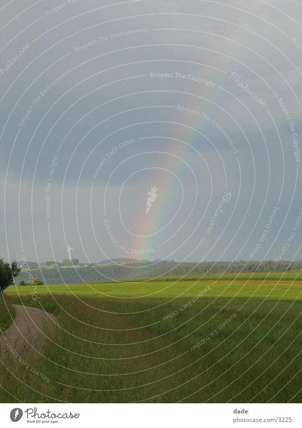 Regenbogen Feld Landschaft Himmel Wolkenhimmel Wolkendecke Horizont Menschenleer Ferne Naturphänomene Lichtbrechung
