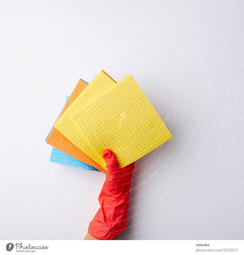 mehrfarbige, quadratische, saugfähige Schwämme Haus Küche Werkzeug Hand Reinigen oben Sauberkeit weich blau gelb weiß Farbe absorbieren blanko Raumpfleger