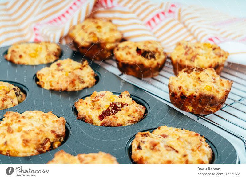 Schinken, Zuckermais und Tomatenmuffins Muffin Snack Frühstück gebastelt Gemüse Mittagessen Gesundheit Essen Diät Speise Hintergrundbild Vesper Rezept Speck