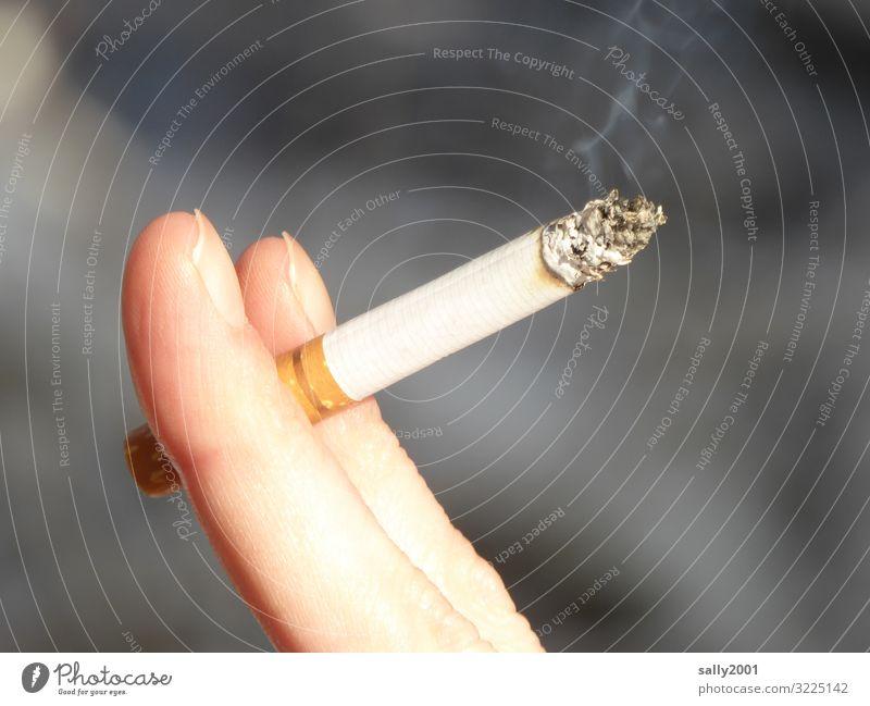 Suchtpotenzial... feminin Junge Frau Jugendliche Finger festhalten Rauchen Stress Nervosität Drogensucht Erholung Zigarette Zigarettenrauch ungesund