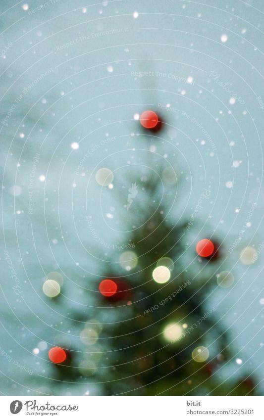 Unscharf l unscharfer Weihnachtsbaum mit verschwommenen Lichtpunkten im Schneefall vor blauem Himmel. Christbaum mit unscharfen vielen Christbaumkugeln in rot und weiß im Schnee. Weihnachten im Schnee, mit leuchtenden Kugeln als Dekoration, Verzierung.