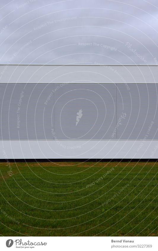 Gerade, so Industrieanlage Fassade Ordnungsliebe Gras grün Himmel Wolken dunkel Langeweile gerade Linie geschlossen blickdicht horizontal Farbfoto Außenaufnahme