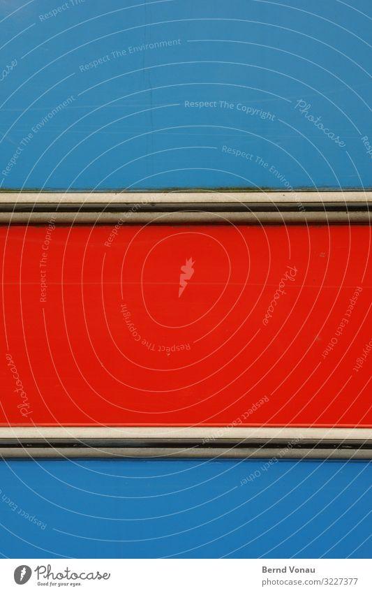 Kante Verkehrsmittel Autofahren Fahrzeug Wohnwagen verrückt rot blau Blech Ecke Karosserie Wohnmobil Goldkante Siebziger Jahre mehrfarbig grell Farbfoto