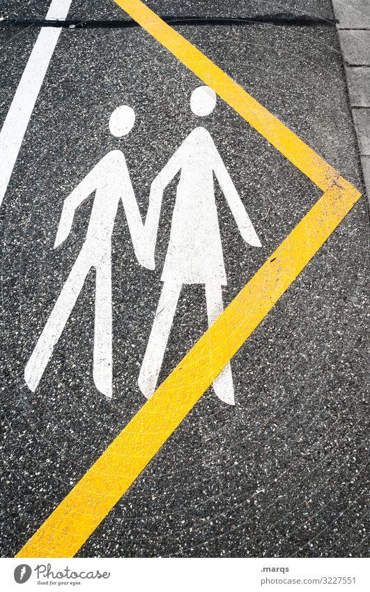 Begleiten 2 Mensch Verkehr Verkehrswege Personenverkehr Straße Fußgängerübergang Zeichen Pfeil Piktogramm gehen Sicherheit Ziel Kindererziehung