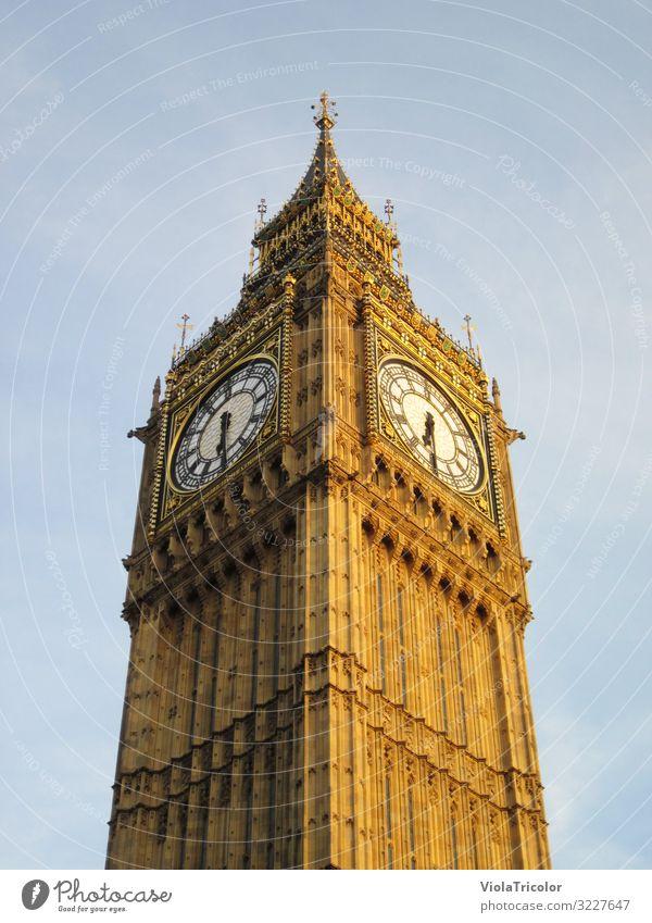 Big Ben Ferien & Urlaub & Reisen Tourismus Uhr Hauptstadt Stadtzentrum Turm Bauwerk Architektur Sehenswürdigkeit Wahrzeichen Stein historisch hoch blau gold