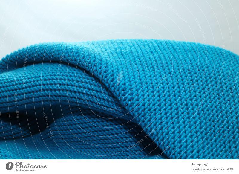Wolldecke Handarbeit stricken Bekleidung Stoff retro blau Tradition Baumwolle Decke Handarbeiten häkeln Luftmaschen Schlaufe Schafwolle Strickware Struktur