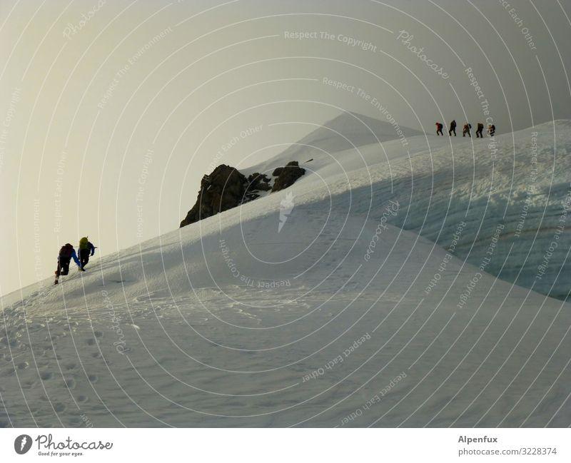 Gemeinsam auf den Gipfel Klima Klimawandel Wetter Schönes Wetter schlechtes Wetter Hügel Felsen Alpen Berge u. Gebirge Berner Oberland Gletscher Coolness kalt