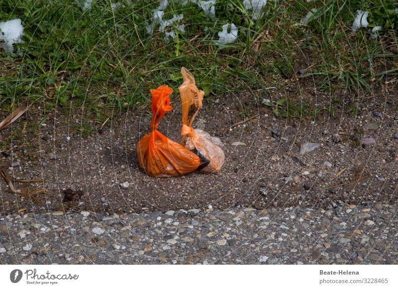Müll in Plastiktüten Umwelt Schnee Dorf Straße Straßenrand Verpackung Kunststoffverpackung entdecken bedrohlich dreckig Ekel gruselig trist orange Enttäuschung