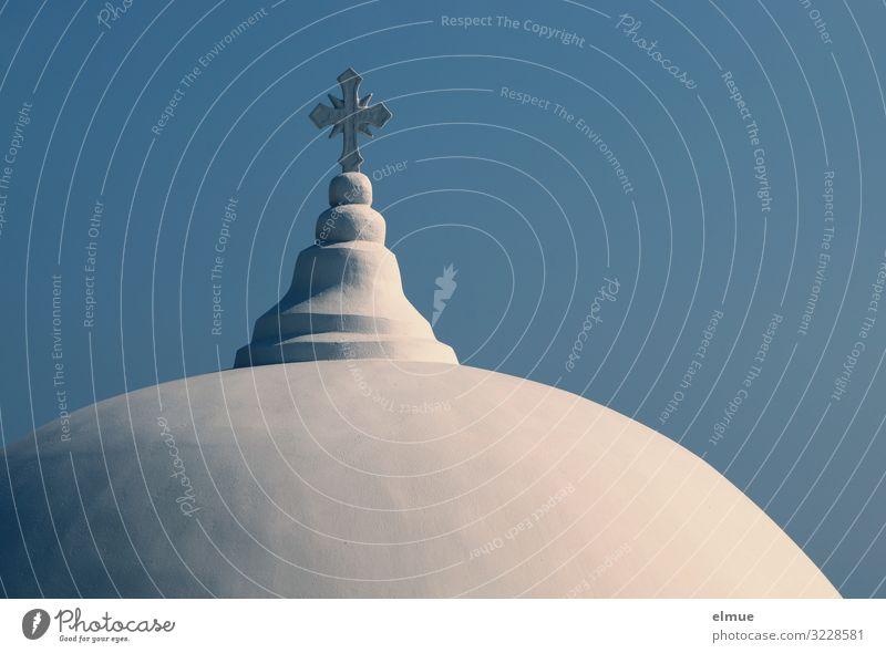 Glaube und Hoffnung Ferien & Urlaub & Reisen Wolkenloser Himmel Griechenland Santorin Kirche Bauwerk Architektur Dach Kuppeldach Stein Kreuz ästhetisch hell