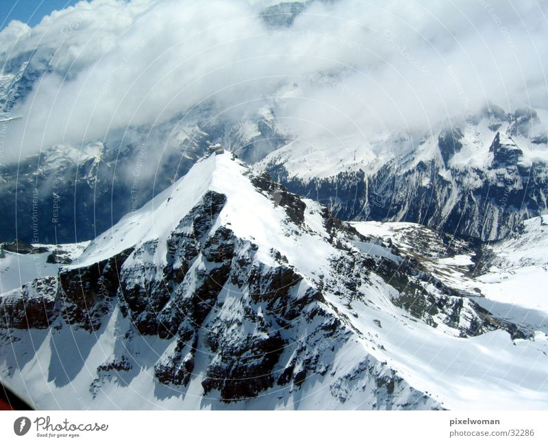 Berge Wolken Berge u. Gebirge Landschaft Wetter Stein Klettern Himmel