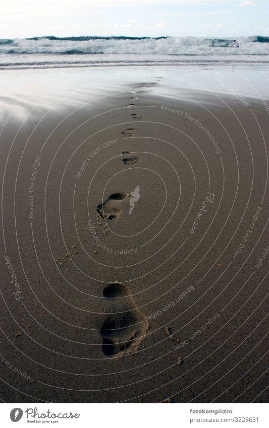 strand fusspuren Ferien & Urlaub & Reisen Freiheit Strand Meer Urelemente Sand Küste Fußspur gehen authentisch frei Gesundheit Einsamkeit Identität nackt Natur