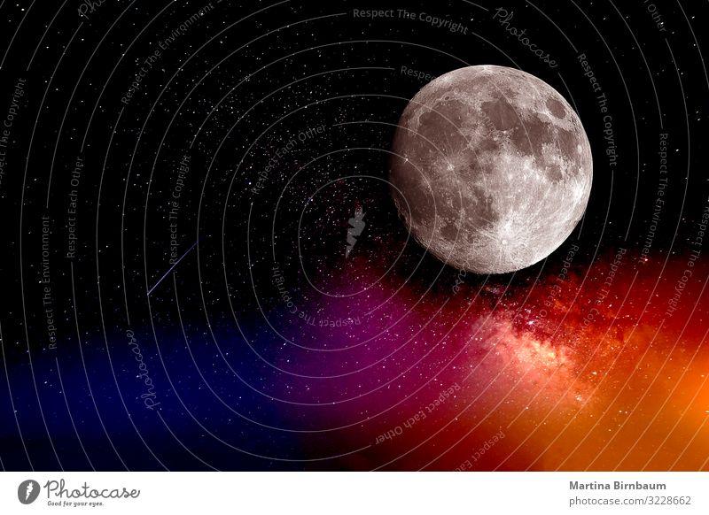 Der Mond, Galaxien und ein Sternschnuppe schön Tapete Wissenschaften Natur Landschaft Himmel Teleskop Kugel hell blau schwarz Sci-Fi interstellar solar