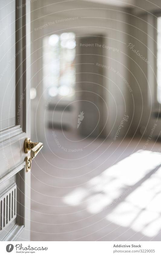 Moderne Tür mit stilvollem Metallknopf in flacher Handgriff modern Knauf Design Sauberkeit übersichtlich einfach Windstille Stil privat heimwärts Frieden Haus