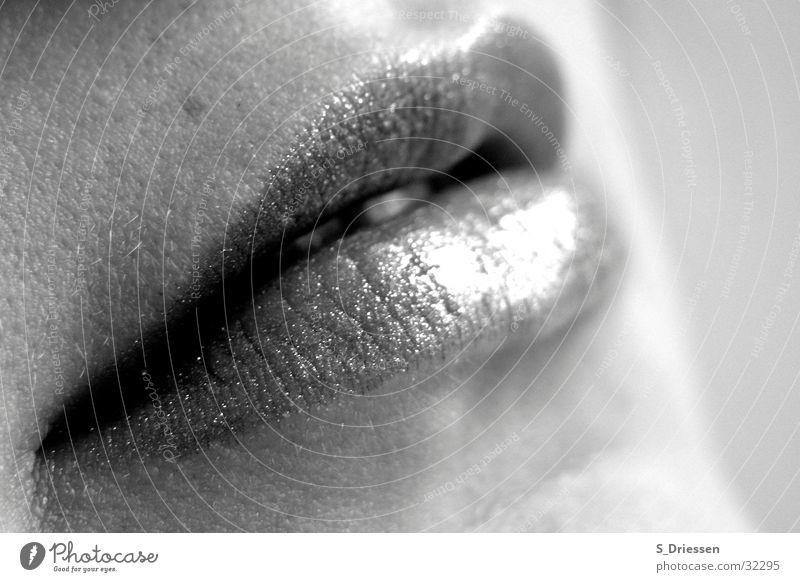 Lippen #2 Detailaufnahme Lippenstift feminin Frau Erwachsene Mund glänzend schwarz weiß Lipgloss Glamour Mundwinkel voll Leberfleck