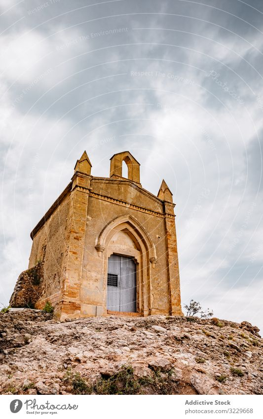 Einsiedelei von Sant Joan vom Berg Montserrat Einsiedler Höhe im Freien traditionell Meditation mittelalterlich Wolken geistig Felsen Natur Stein Landschaft