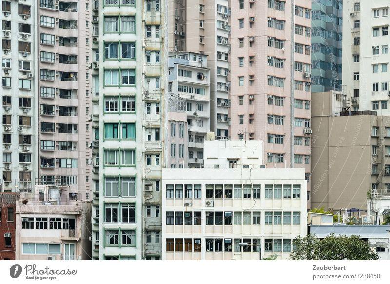 Hochhäuser in Hongkong Städtereise China Stadt Stadtzentrum Hochhaus Mauer Wand Fassade Fenster Stein Glas Häusliches Leben eckig hoch kalt modern diszipliniert