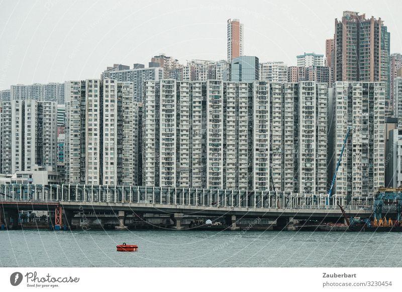 Hochhäuser in Hongkong, vom Hafen aus gesehen Städtereise China Stadt Stadtzentrum Skyline Hochhaus Fassade Fenster Häusliches Leben eckig gigantisch modern