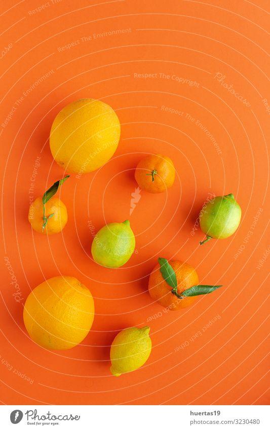 Orangen, Mandarinen und Zitronen von oben gesehen Lebensmittel Gemüse Frucht Dessert Ernährung Frühstück Vegetarische Ernährung Diät Gesunde Ernährung frisch