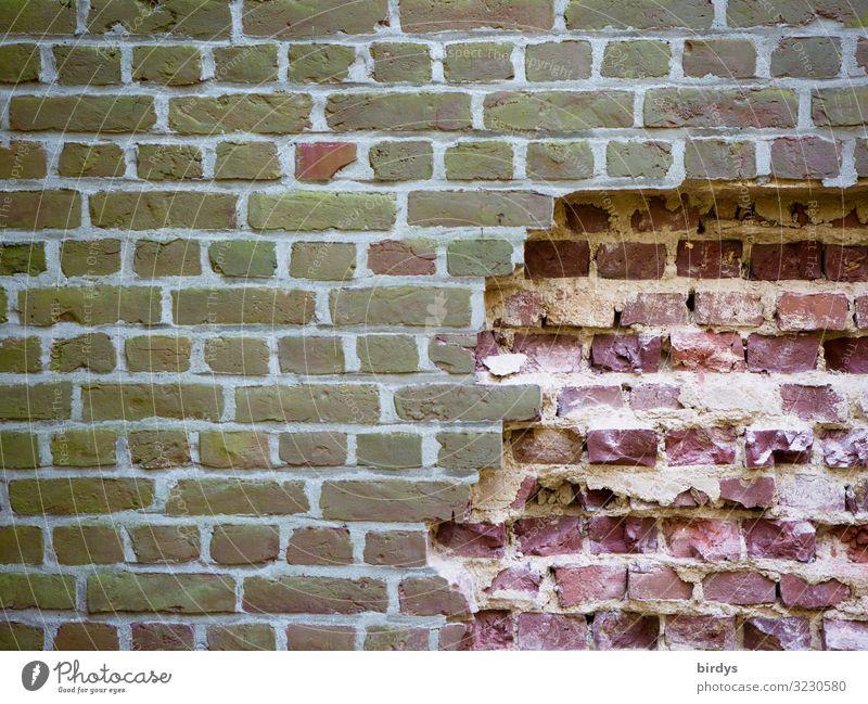 Freiheit lockt Mauer Wand Backsteinwand authentisch fest kaputt rebellisch braun grau rosa Gefühle Mut Tatkraft Einsamkeit Platzangst Ausbruch