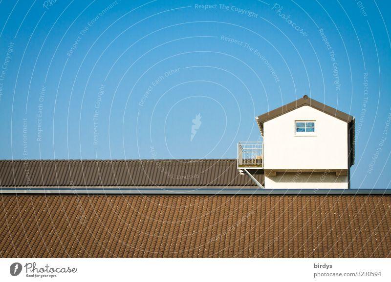 stilsicher - klare Linien Häusliches Leben Haus Wolkenloser Himmel Schönes Wetter Fassade Balkon Fenster Dach authentisch außergewöhnlich einfach oben blau