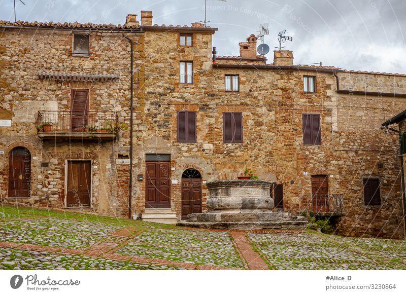 mittelalterliches Dorf Rocca d'Orcia Toskana Italien Ferien & Urlaub & Reisen Winter Wohnung Haus Europa Kleinstadt Altstadt Menschenleer Platz Gebäude