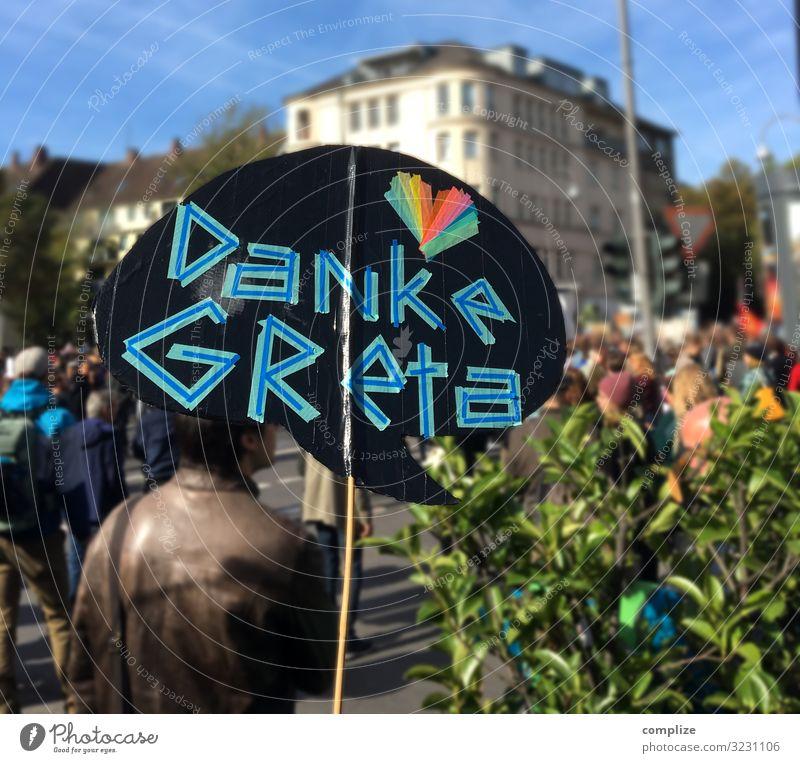 Danke Greta | Fridays for Future Gesundheit Kind Schule Energiewirtschaft Mensch Familie & Verwandtschaft Straße Schriftzeichen Schilder & Markierungen dankbar