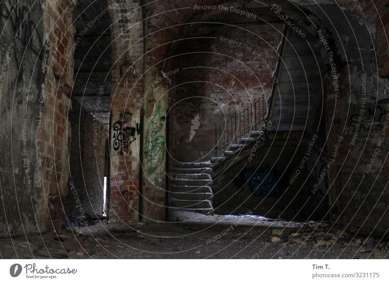 Winter in Beelitz Brandenburg Menschenleer Haus Ruine Bauwerk Gebäude Mauer Wand Treppe kalt Zeit Heilstätte dunkel Graffiti Farbfoto Innenaufnahme Tag Licht