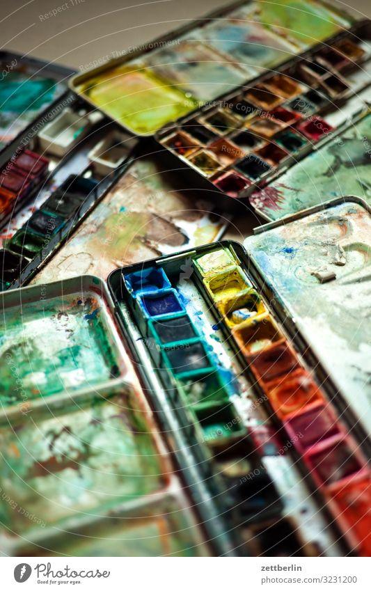 Aquarellfarben Hobelbank mehrfarbig Farbstift Entwurf Farbe Farbstoff Grafiker Grafik u. Illustration Kreativität Kreide Kunst Künstler Gemälde Schreibtisch