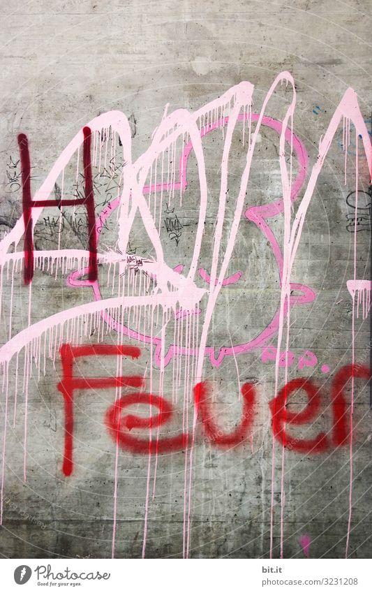 Feuer Grafitti auf einer Betonwand Kunst Kunstwerk Gemälde Jugendkultur Mauer Wand Fassade Dekoration & Verzierung Stein Zeichen Schriftzeichen