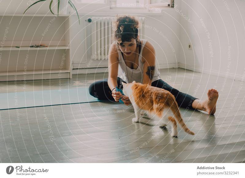 Entspannte Frau spielt zu Hause mit Katze auf dem Boden spielen heimwärts entspannt fürsorglich katzenhaft heimisch Appartement Stock Barfuß lässig modern