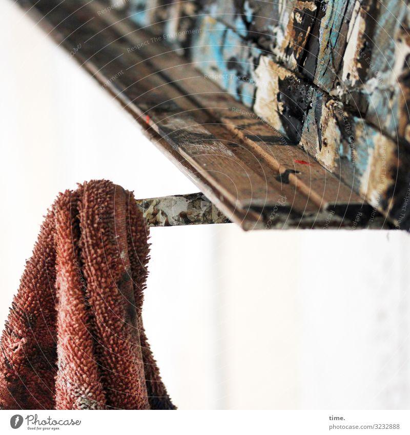 Werk und Werkzeug Bildung Arbeit & Erwerbstätigkeit Arbeitsplatz Baustelle Medienbranche Handwerk Kunst Kunstwerk Gemälde Leinwand Haken Putztuch Stoff