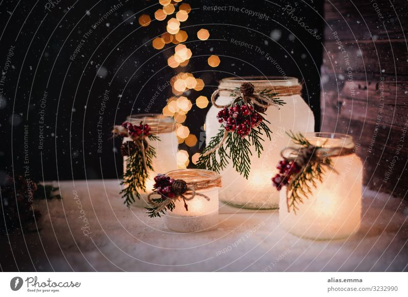 Winterliche Windllichter zur Weihnachtszeit Basteln Garten Weihnachten & Advent Natur Holz Glas braun gelb gold schwarz Geborgenheit windlicht kerzen dekoration