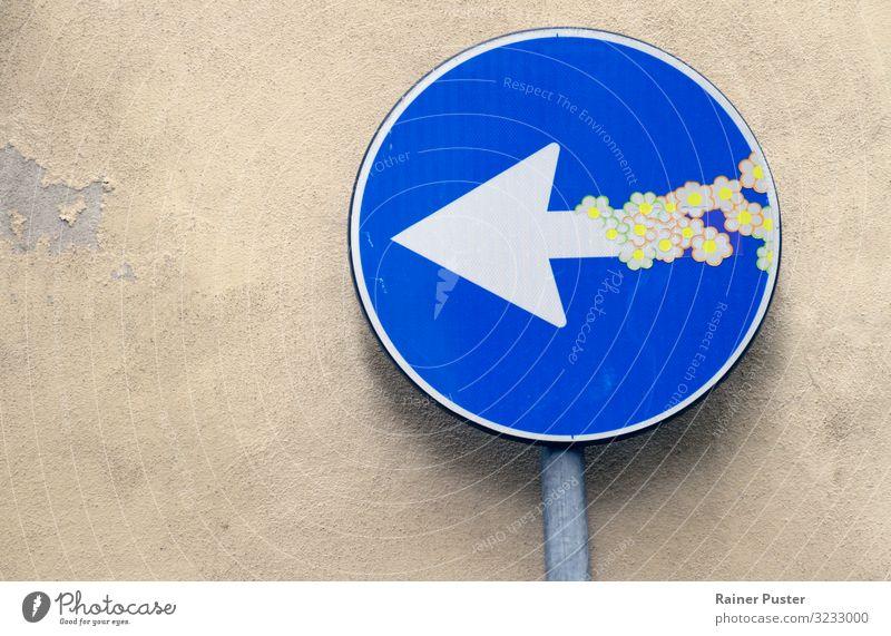 Straßenschild mit Blumen-Stickern Kunst Straßenkunst Blüte Florenz Stadtzentrum Straßenkreuzung Wege & Pfade Wegkreuzung Verkehrszeichen Verkehrsschild Spielen