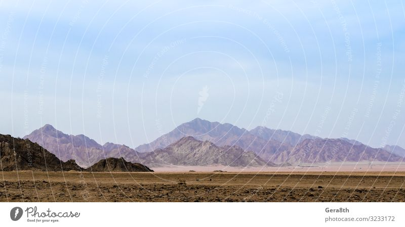 Berge in der Wüste Sharm El Sheikh Ägypten exotisch Ferien & Urlaub & Reisen Sommer Berge u. Gebirge Natur Landschaft Sand Himmel Horizont frei Blauer Himmel