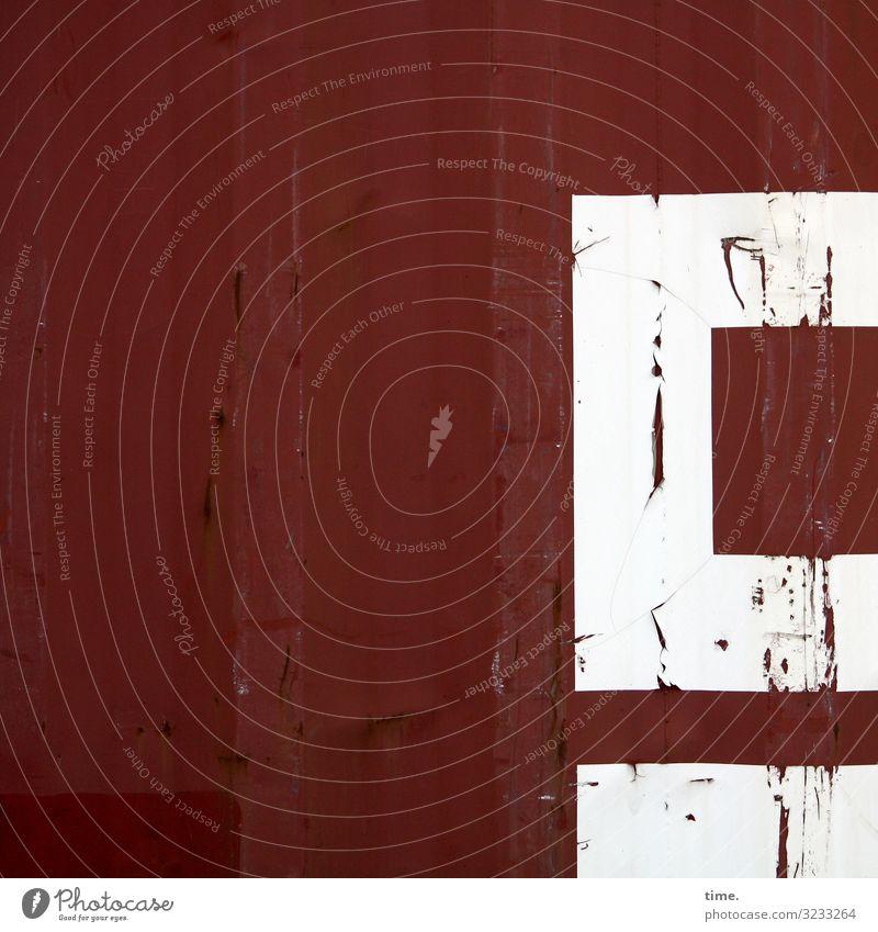 Q-Tipps Arbeit & Erwerbstätigkeit Arbeitsplatz Güterverkehr & Logistik Dienstleistungsgewerbe Container Metall Rost Ornament Linie Streifen dunkel eckig fest