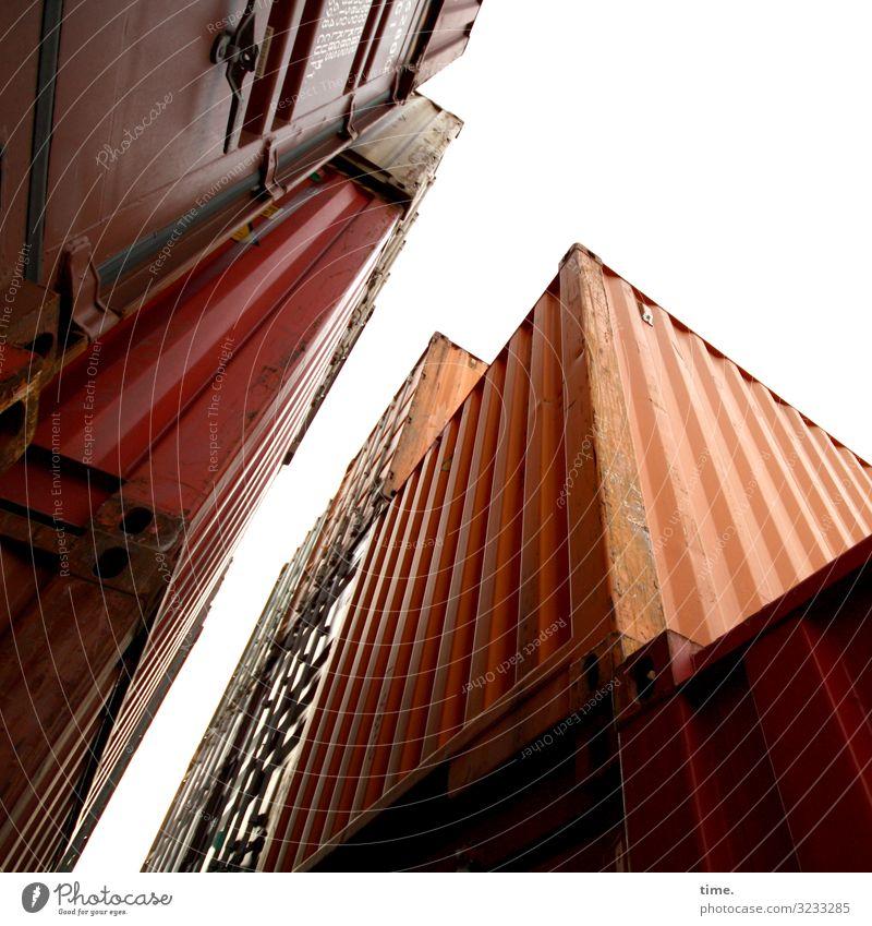 Halswirbelsäulentraining (XXVI) Arbeit & Erwerbstätigkeit Arbeitsplatz Güterverkehr & Logistik Dienstleistungsgewerbe Himmel Container Linie hoch Partnerschaft
