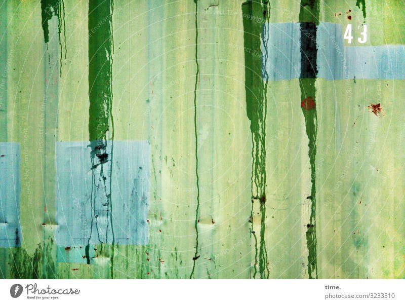 greenwashing Container Farbe ausgelaufen Rost Metall Ziffern & Zahlen Linie Streifen fest Flüssigkeit blau gelb grün türkis Leben Überraschung Bewegung