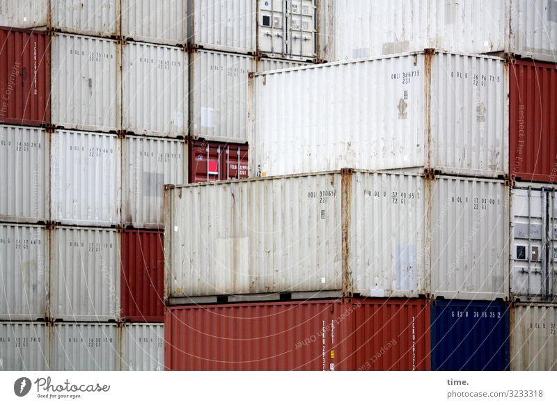 Tetris Arbeit & Erwerbstätigkeit Arbeitsplatz Güterverkehr & Logistik Dienstleistungsgewerbe Container Metall Linie Streifen dunkel eckig trashig Stadt rot weiß