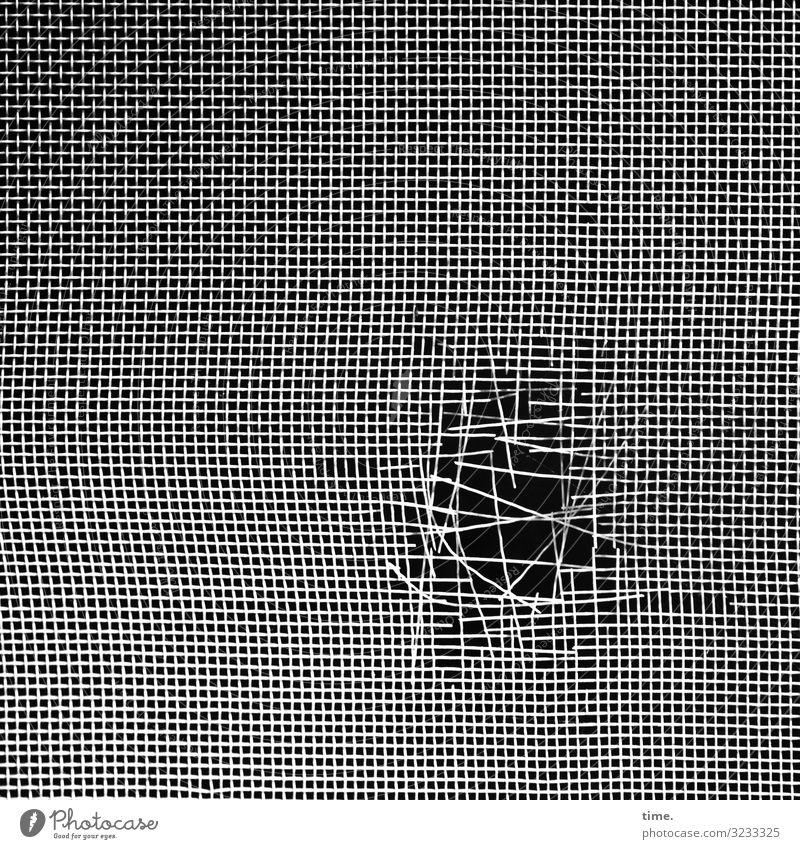 atmungsaktiv (III) Stoff Loch Kunststoff Linie Netzwerk dunkel kaputt rebellisch trashig Müdigkeit Enttäuschung Erschöpfung Nervosität Misstrauen Ärger Stress